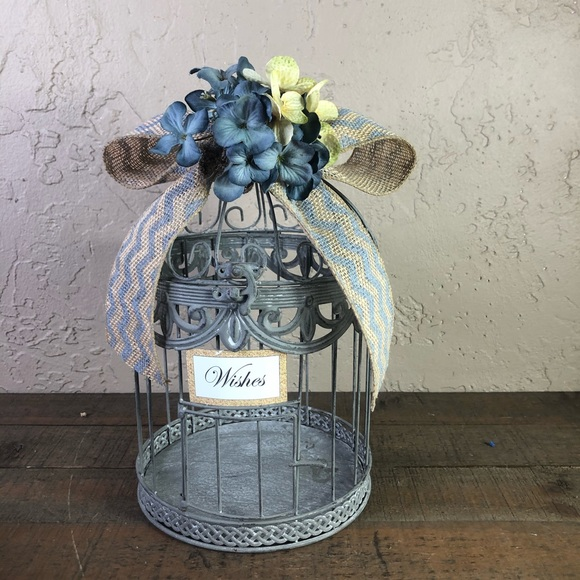 None Other - Gray & blue rustic wedding wishes birdcage